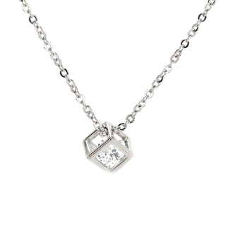 AGN0021 - Silver Plated Crystal 3D Cube Necklace