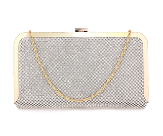 Silver Crystal Beaded Evening Clutch Purse wholesale