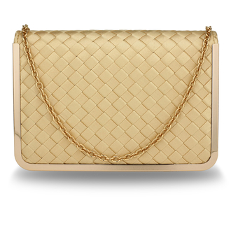 AGC00369 - Gold Flap Evening Clutch Bag