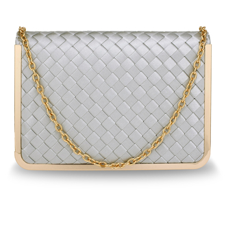AGC00369 - Silver Flap Evening Clutch Bag