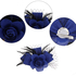 AGF00237 - Royal Blue / Black Flower Mesh Feather Fascinator