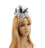 AGF00237 - Light Grey / Black Flower Mesh Feather Fascinator