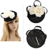 AGF00240 - Black / Ivory Flower Mesh Feather Hat Fascinator