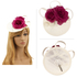 AGF00240 - Ivory / Purple Flower Mesh Feather Hat Fascinator
