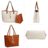 AG00567P - Reversible White/Brown Large Tote Bag With Pouch
