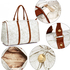 AG00479C - White/Gold Butterfly Weekend Duffle Bag