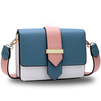 AG00692 - Blue / White / Pink Flap Cross Body Shoulder Bag