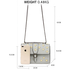 AG00630 - Grey Flap Crystal Cross Body Bag With Black Metal Work