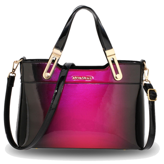 AG00678 - Purple Two Tone Patent Shoulder Bag