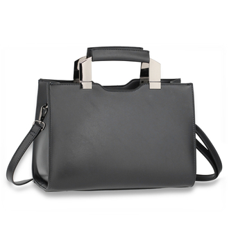 AG00690 - Black Anna Grace Fashion Tote Bag With Black Metal Work