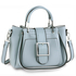 AG00632 - Blue Grab Tote Bag With Silver Metal Work