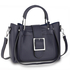 AG00632 - Navy Grab Tote Bag With Silver Metal Work