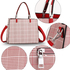 AG00634 - Burgundy / White Check Print Fashion Tote Bag With Silver Metal Work