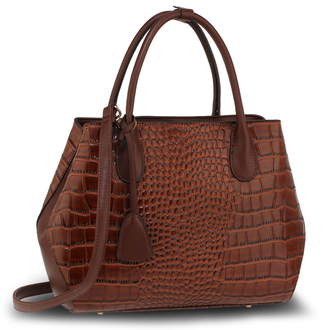 AG00644 - Brown Fashion Croc Style Tote Bag