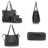 AG00666 - Black / Black 4 Pieces Set Tote Bag / Messenger Satchel / Wristlet / Wallet