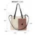 AG00666 - Beige / Black 4 Pieces Set Tote Bag / Messenger Satchel / Wristlet / Wallet