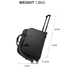 AGT1011B - Black Travel Holdall Trolley Luggage With Wheels - CABIN APPROVED