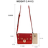AG00718 - Burgundy Flap Twist Lock Cross Body Bag