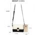 AG00718 - White / Black Flap Twist Lock Cross Body Bag