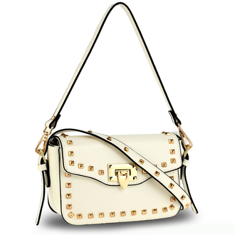 AG00722 - White Cross Body Flap Shoulder Bag