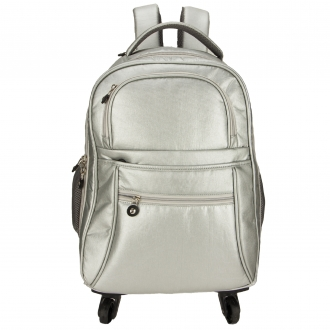 AGT1023  - Silver Backpack Rucksack With Wheels