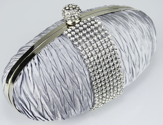 LSE0044 - Silver Ruched Satin Clutch With Crystal Trim