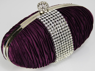 LSE0044 - Purple Ruched Satin Clutch With Crystal Trim