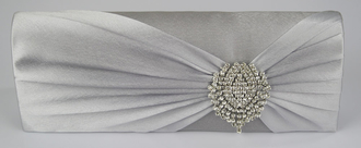 LSE0077 - Silver Ruched Satin Clutch With Crystal Flower