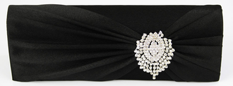 LSE0077 - Black Ruched Satin Clutch With Crystal Flower