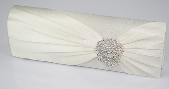LSE0077 - Ivory Ruched Satin Clutch With Crystal Flower