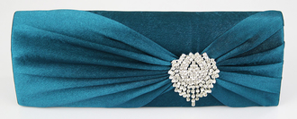 LSE0077 - Teal Ruched Satin Clutch With Crystal Flower