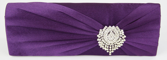 LSE0077 - Purple Ruched Satin Clutch With Crystal Flower