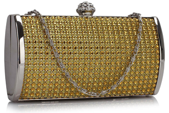LSE0081 - Gold Sparkly Crystal Evening Clutch