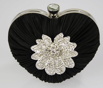 LSE0084 - Black Crystal Flower Hardcase Heart Clutch Bag