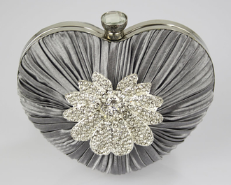 LSE0084 - Grey Crystal Flower Hardcase Heart Clutch Bag