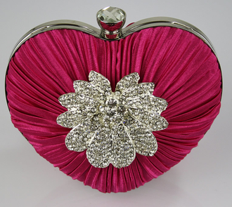 LSE0084 - Pink Crystal Flower Hardcase Heart Clutch Bag