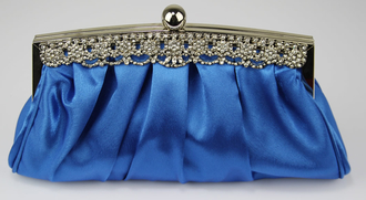 LSE0086 - Royal Blue Crystal Satin Evening Clutch