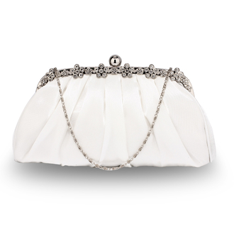 LSE0088 - Ivory Sparkly Crystal Satin Evening Clutch