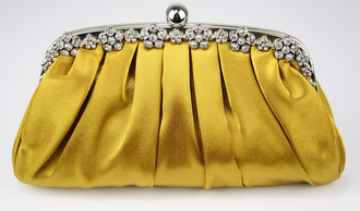 LSE0088 - Gold Sparkly Crystal Satin Evening Clutch