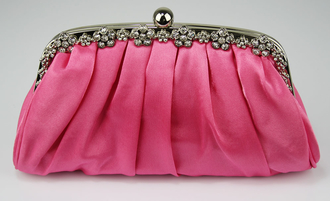 LSE0088 - Pink Sparkly Crystal Satin Evening Clutch