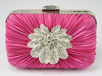 LSE006 - Pink Gorgeous Satin Rouched Brooch Hard Case Pink Evening Bag