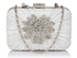 LSE006 - Ivory Gorgeous Satin Rouched Brooch Hard Case Evening Bag