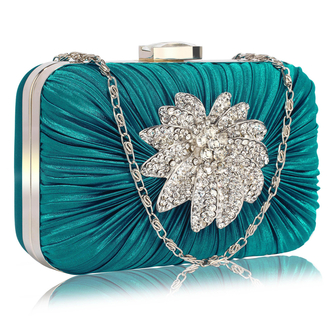 LSE006 - Teal Gorgeous Satin Rouched Brooch Hard Case teal Evening Bag