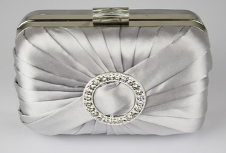 LSE0071 - Silver Gorgeous Satin Rouched Brooch Hard Case Silver Evening Bag