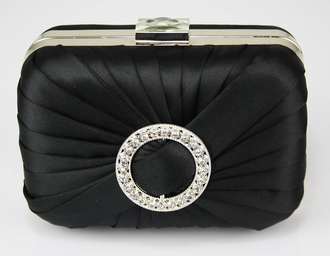 LSE0071 - Black Gorgeous Satin Rouched Brooch Hard Case Black Evening Bag