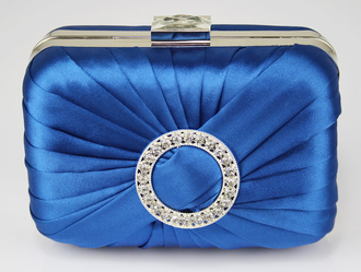 LSE0071 - Blue Gorgeous Satin Rouched Brooch Hard Case Blue Evening Bag