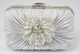 LSE006 - Silver Gorgeous Crystal Satin Rouched Brooch Hard Case Silver Evening Bag