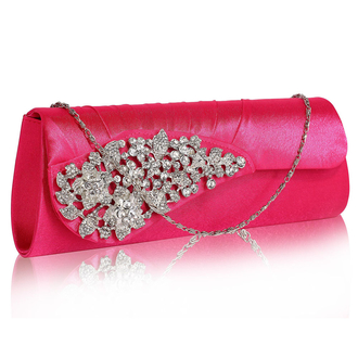 LSE0078 - Pink Ruched Satin Clutch With Crystal Flower