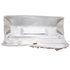 LSE0078 - Ivory Ruched Satin Clutch With Crystal Flower