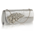 LSE0078 - Silver Ruched Satin Clutch With Crystal Flower